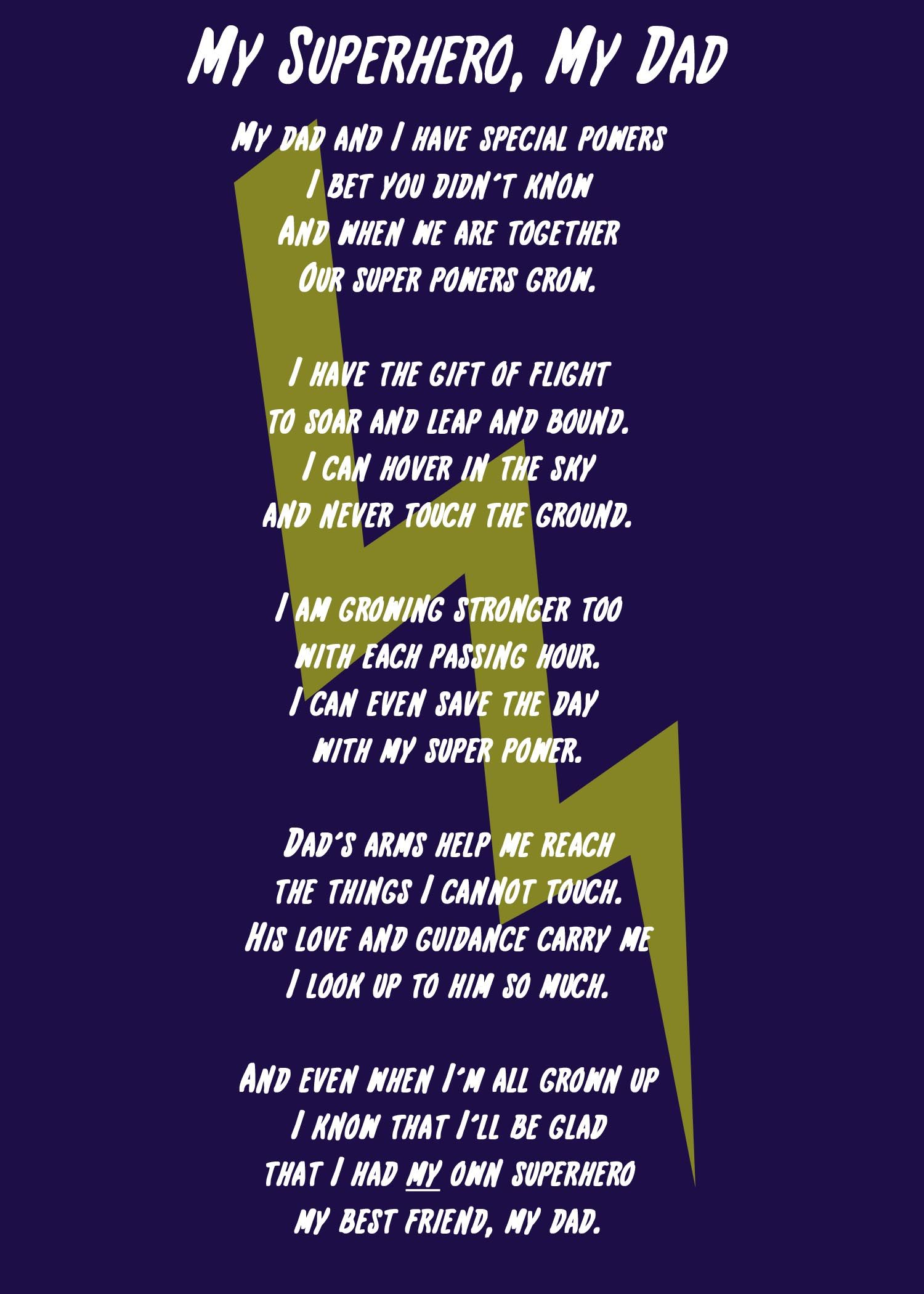 My Superhero, My Dad Poem and Printable | Father's Day ...