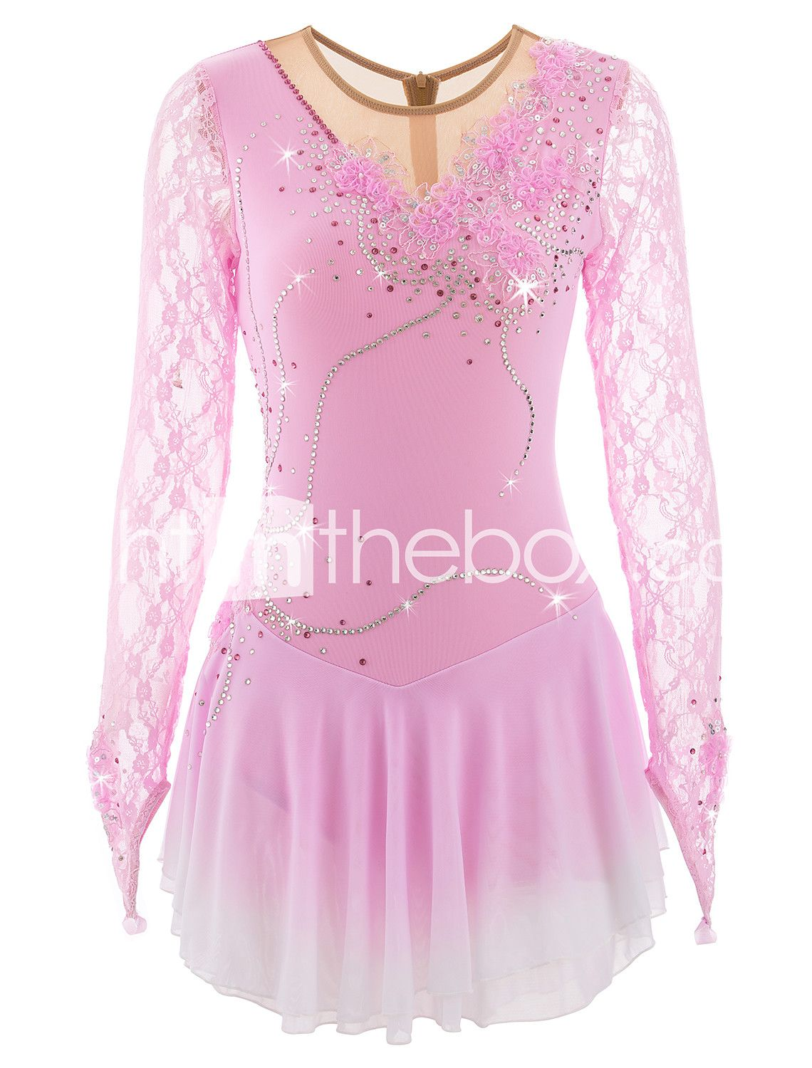 competition ice figure skating dress child  women ice skating dress blue dying