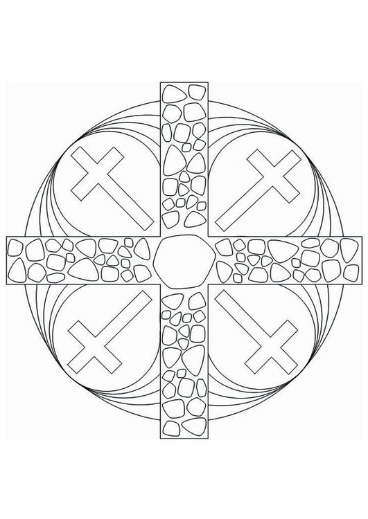 Coloring page Mandala Cross | Vbs | Pinterest | Pintar