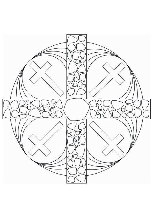 Coloring Page Mandala Cross Coloring Back To Our Youth Adult - Mandala-cross-coloring-pages
