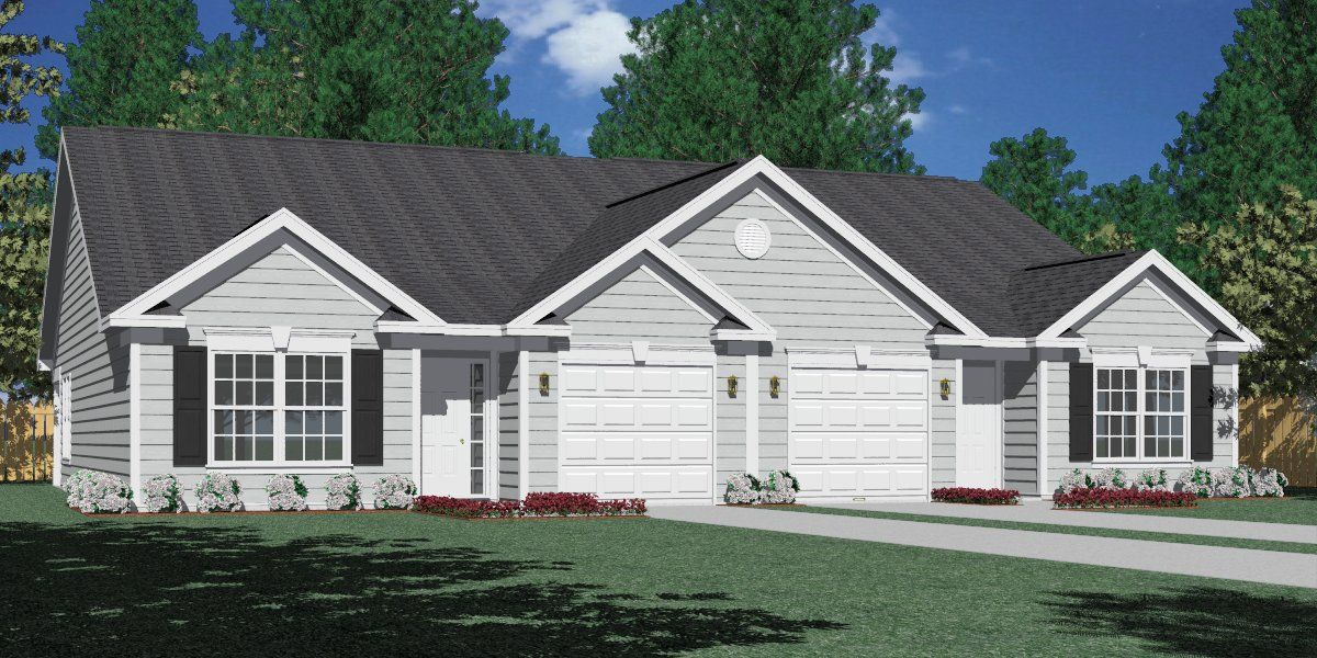 Southern heritage home designs duplex plan 1261 real for Ranch style duplex plans