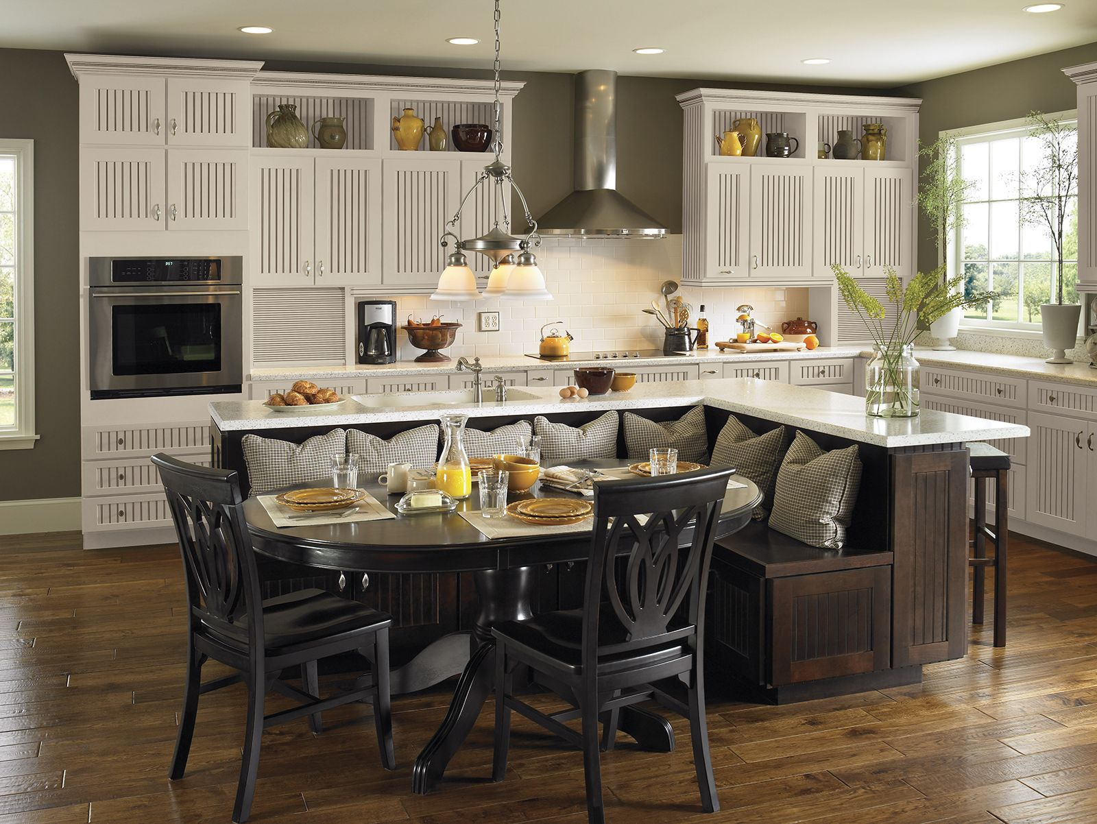 Perhaps You Want To Go Casual Country And Add A Touch Of Farmhouse V Kitchen Island Built In Seating Kitchen Island Designs With Seating Kitchen Island Table