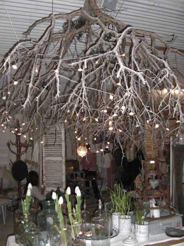 22 DIY Ideas For Rustic Tree Branch Chandeliers | Branch ...