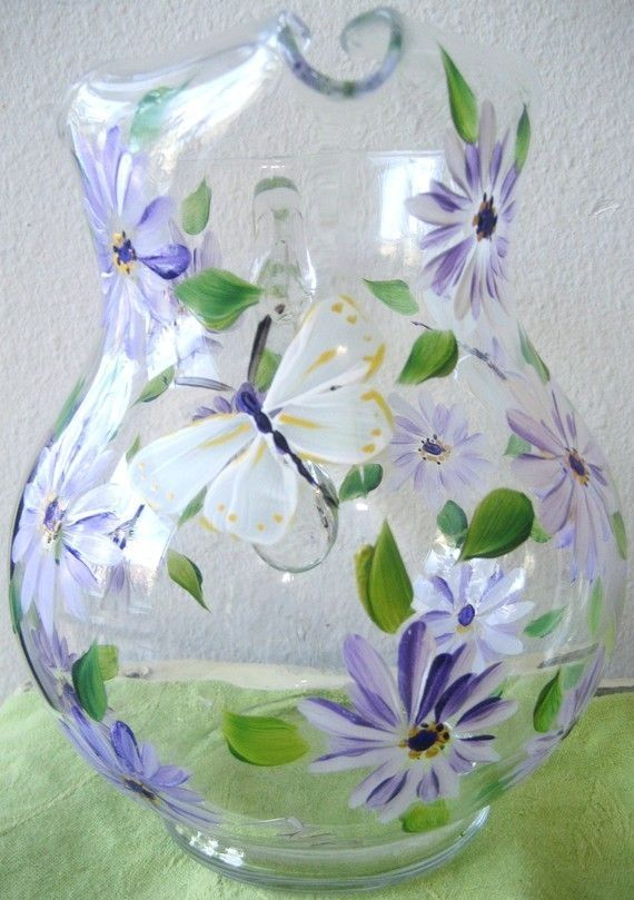 Handpainted glass pitcher with daisies by TivoliGardens on Etsy, $36.00 by catrulz