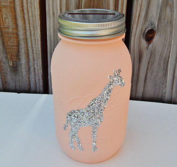 Giraffe piggy bank for Mason jar piggy bank