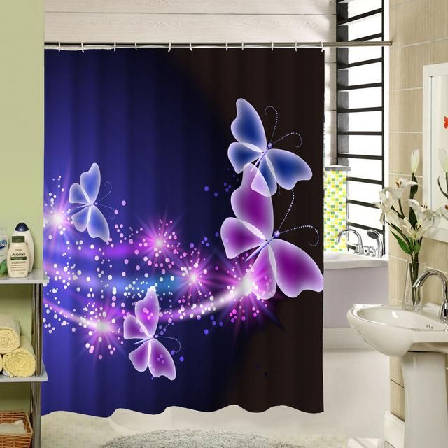 Butterfly Shower Curtain For Bathroom Decor 4 Designs Butterfly