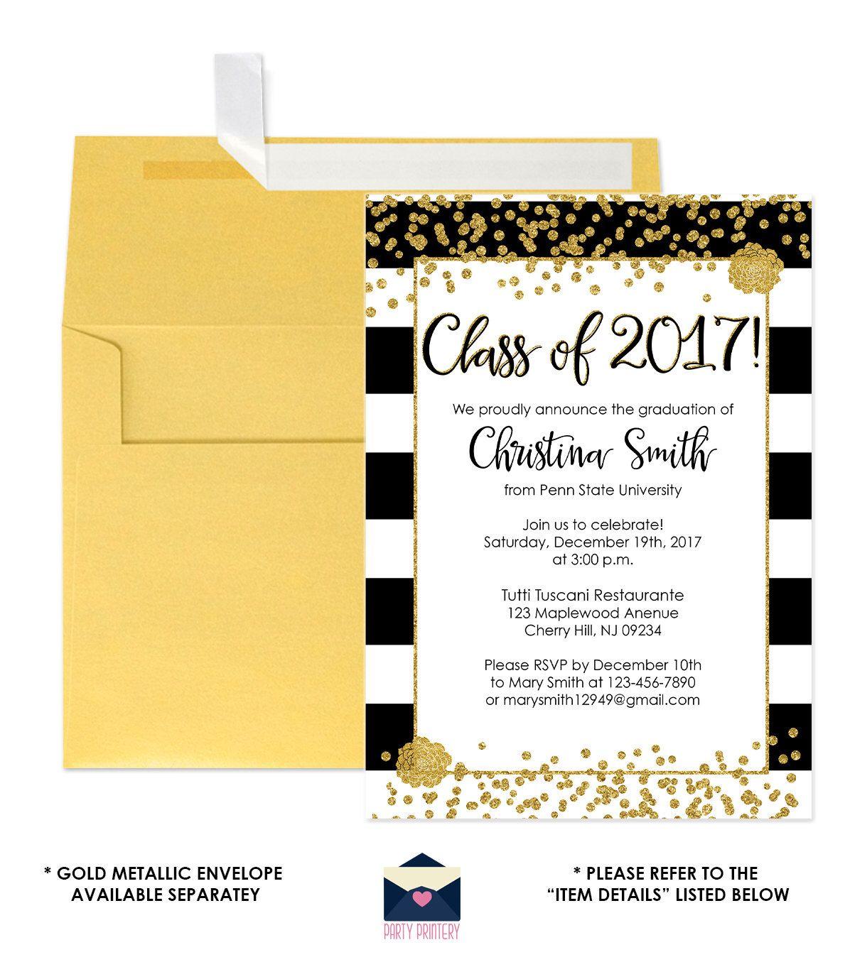Black and Gold Graduation Invitations Gold Glitter Graduation
