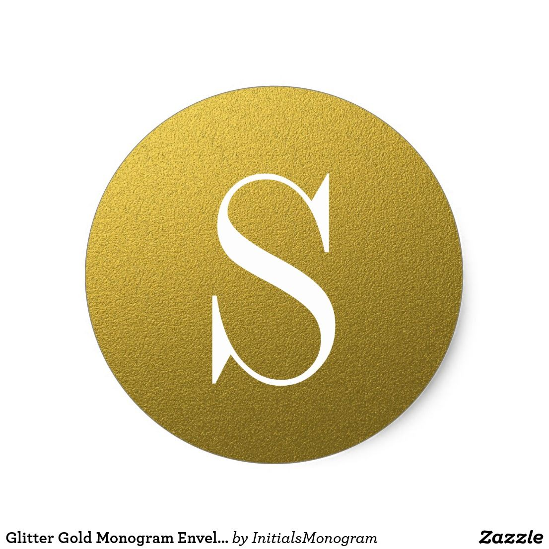 monogram wedding envelope seals sticker%0A Glitter Gold Monogram Envelope Seal