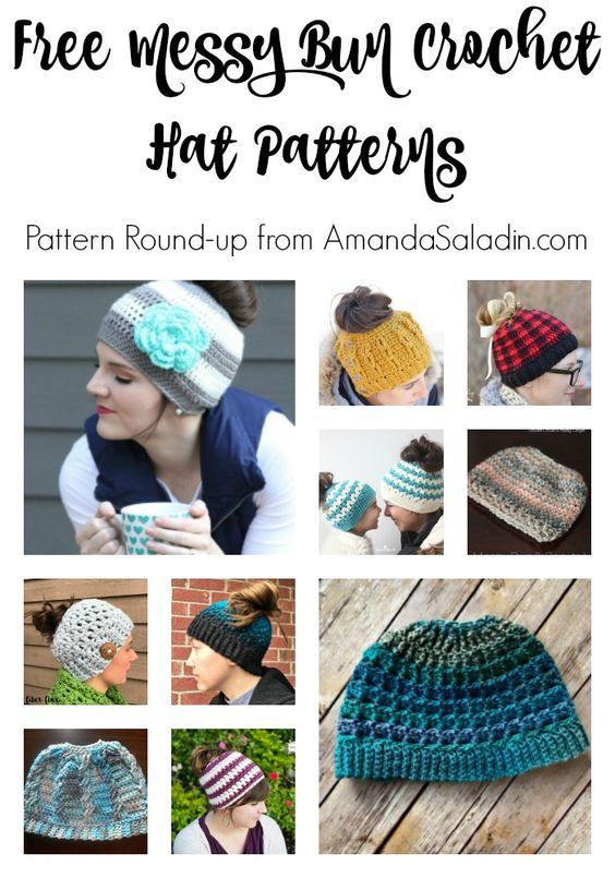 Free Crochet Messy Bun Hat Patterns