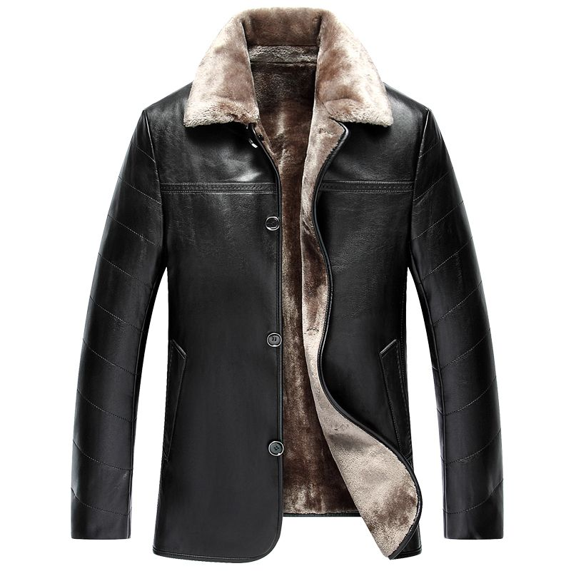 9bf7c3d25f1 Fashion Men Winter Jacket Leather Coat Fur Fleece Jacket Trench Coat  Hipster