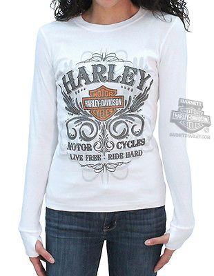 Harley Davidson Ladies Glitter Hdmc Filigree White Ribbed Long Sleeve T Shirt Harley Davidson Clothing Classic Harley Davidson Harley