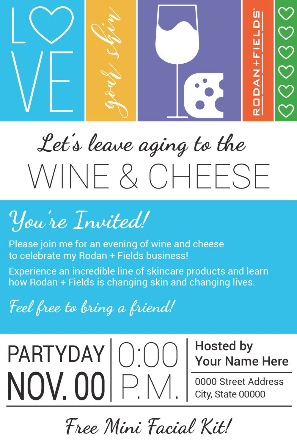 Rodan and Fields Big Biz Launch Wine Cheese Party Evite or