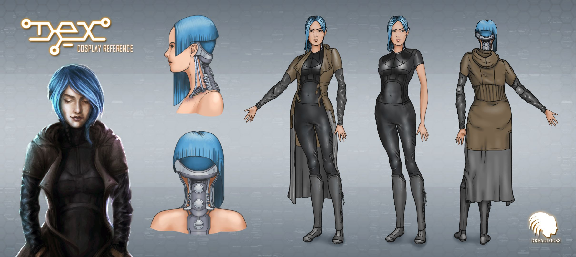 Cosplay reference distributed to fans who want to dress up as Dex. Dex - 2D cyberpunk indie RPG game - www.dex-rpg.com