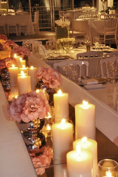 Genial Mirror Tiles As Table Runners. Beautiful With The Candles To Reflect Their  Light
