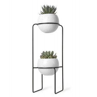 Etagère porte-plantes design métal noir 2 pots en céramique Umbra ...