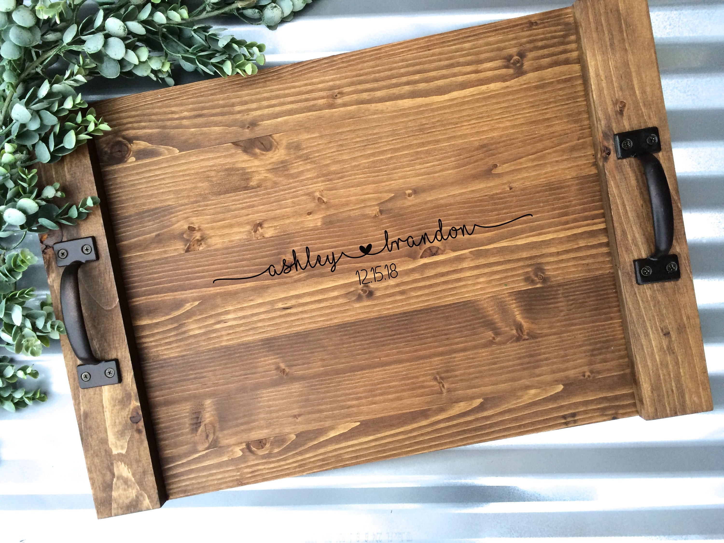 Ottoman Tray Personalized Rustic Wood Tray Farmhouse Decor Tray Wood Serving Tray Gift Serving Tray Wood Wood Tray Diy Tray