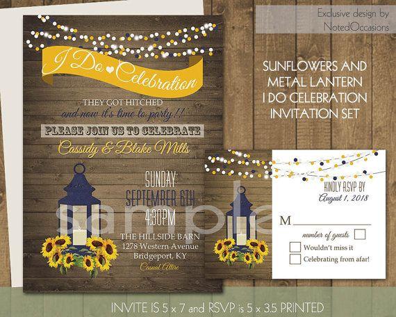 I Do BBQ Wedding Reception Invitation Printable Set Sunflowers - i do bbq wedding invitations