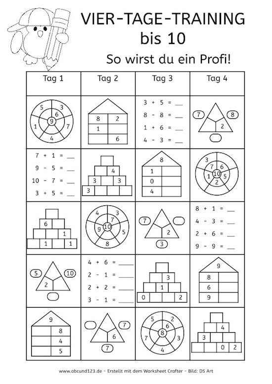 Vier-Tage-Mathe-Training (Zahlenraum bis 10) - | Math, School and ...