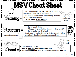 Msv Cheat Sheet Use During Running Record To Determine Cause Of