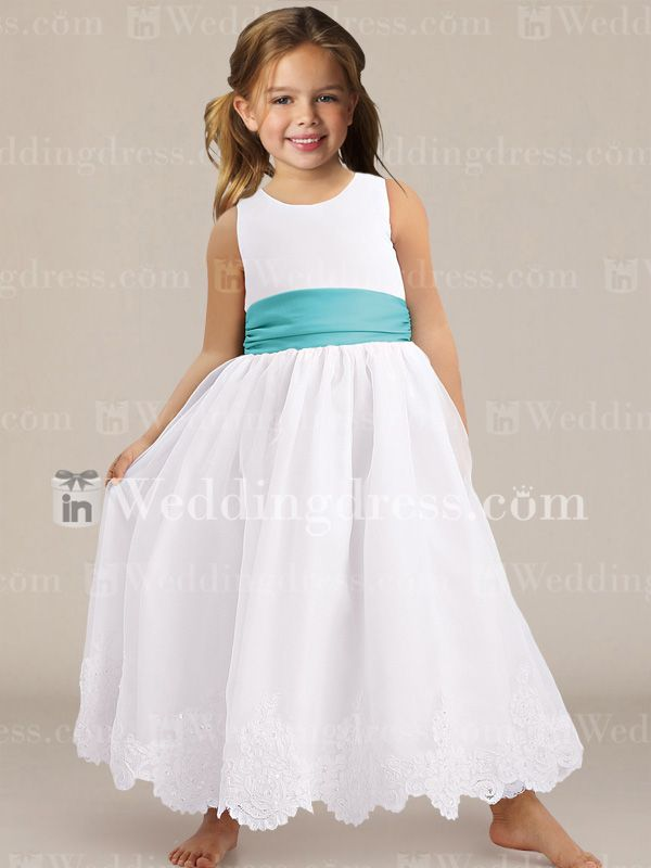Ballerina Length Organza Flower Dress With Lace Fl131n Simple Dresses