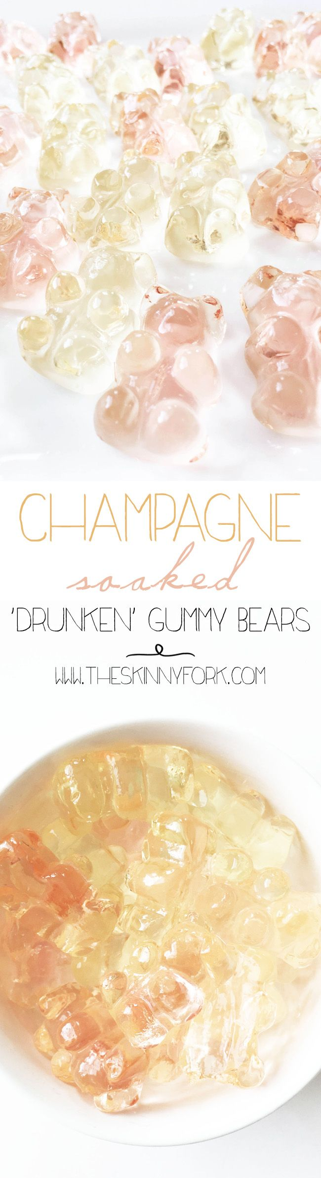 Champagne Soaked Gummy Bears - use #ConoSur Brut Sparkling or #AlmaNegra Brut Rosé Sparkling (and if you order all clear or white gummy bears they will be especially pretty!)
