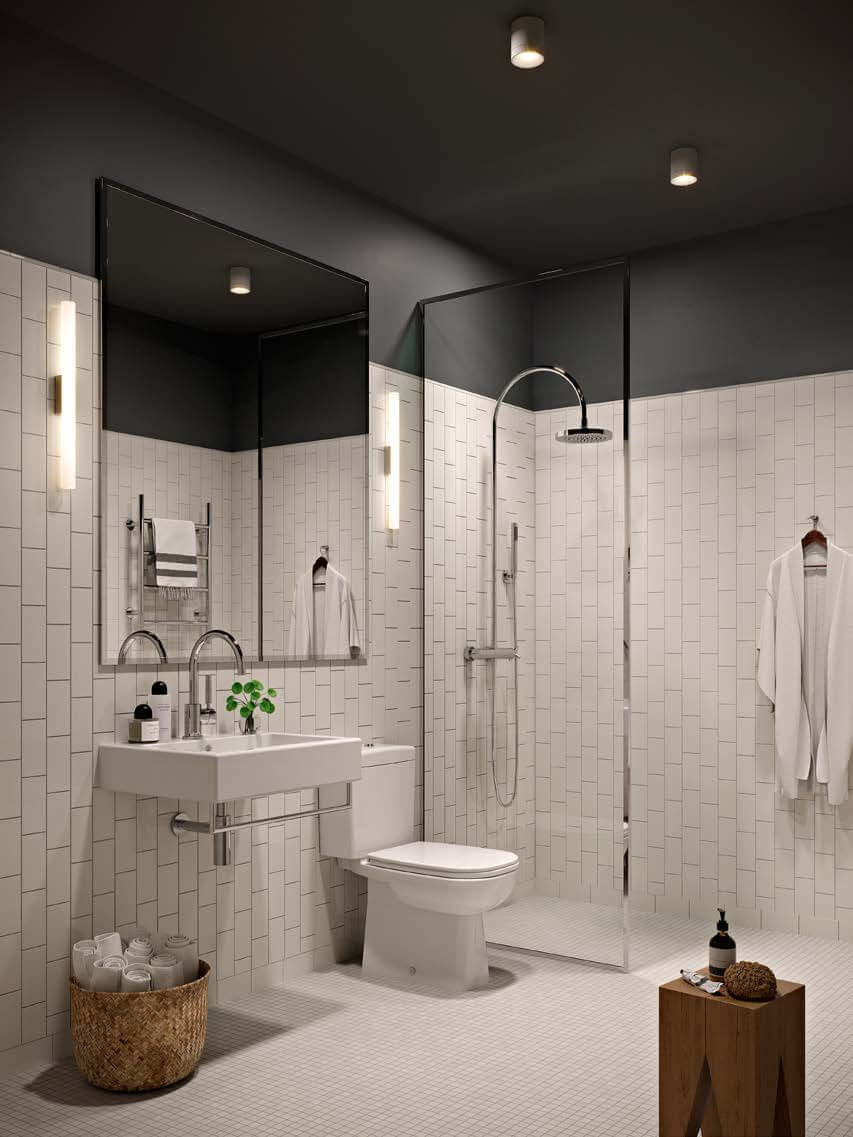 This interesting bathroom design combines a dark ceiling and upper this interesting bathroom design combines a dark ceiling and upper walls with vertical tiled white metro dailygadgetfo Image collections