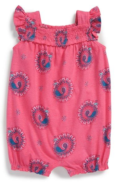 d430435af7e Tea Collection  Woodblock Peacock  Smocked Bubble Romper (Baby Girls ...