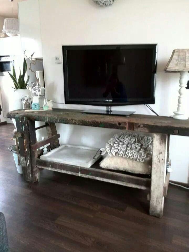 Side Table Oude Werkbank.Oude Werkbank Als Side Table Furniture En 2019 Mobilier
