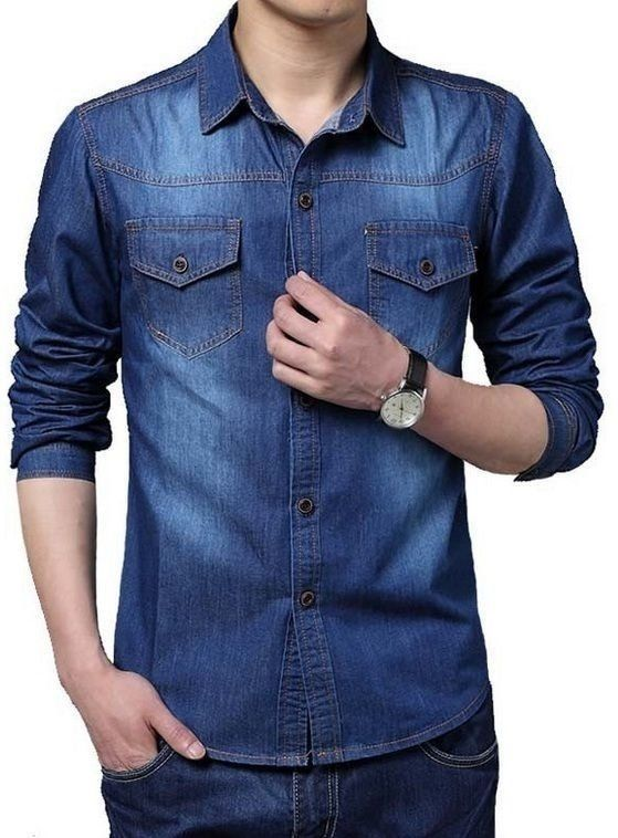 Camisa Jeans Manga Longa Masculina Azul Marinho