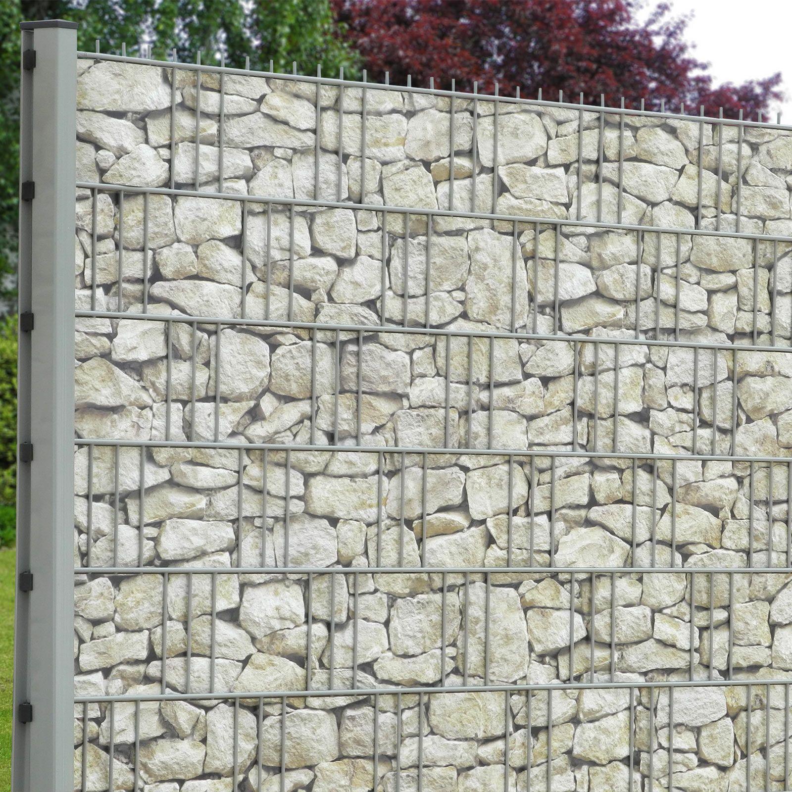 eine mediterrane sandsteinmauer als sichtschutz einfach in den gittermattenzaun einflechten. Black Bedroom Furniture Sets. Home Design Ideas