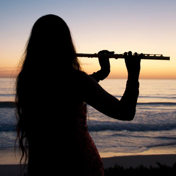 Image result for flutist from behind on the beach