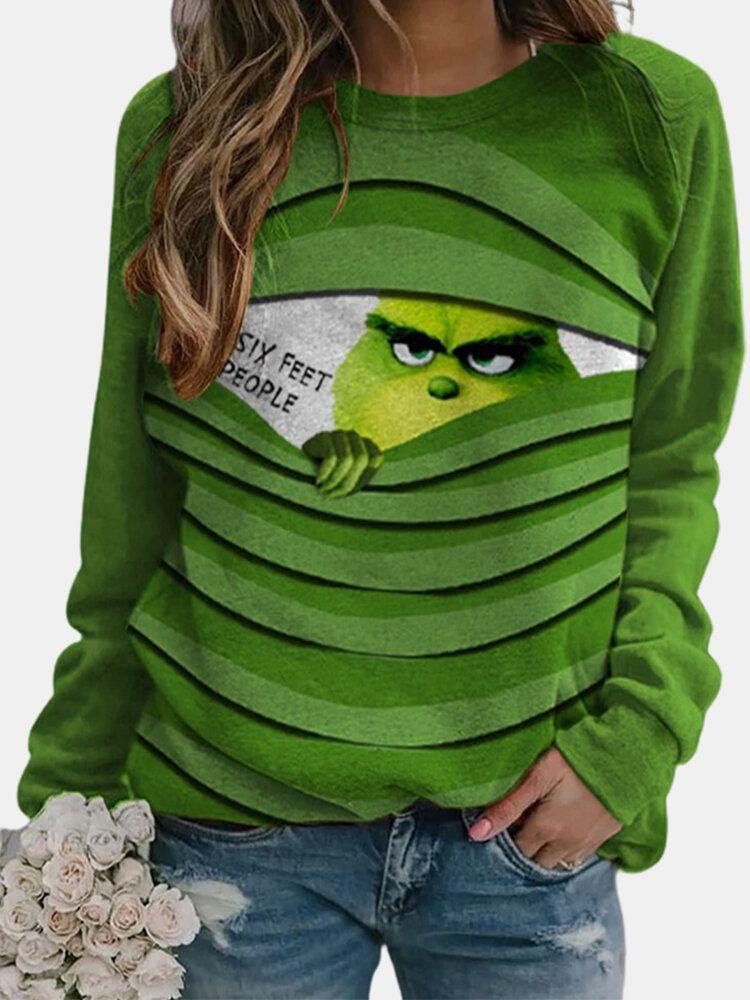 Cartoon Print Long Sleeves Casual O-neck Sweatshirt For Women