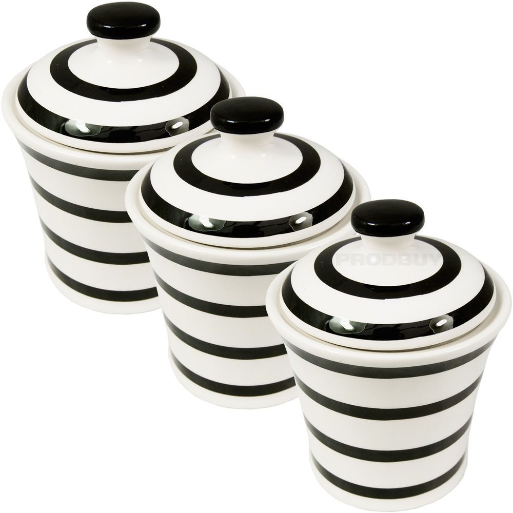Set of 3 Cream & Black Stripe Tea Coffee Sugar Canister Food Storage ...