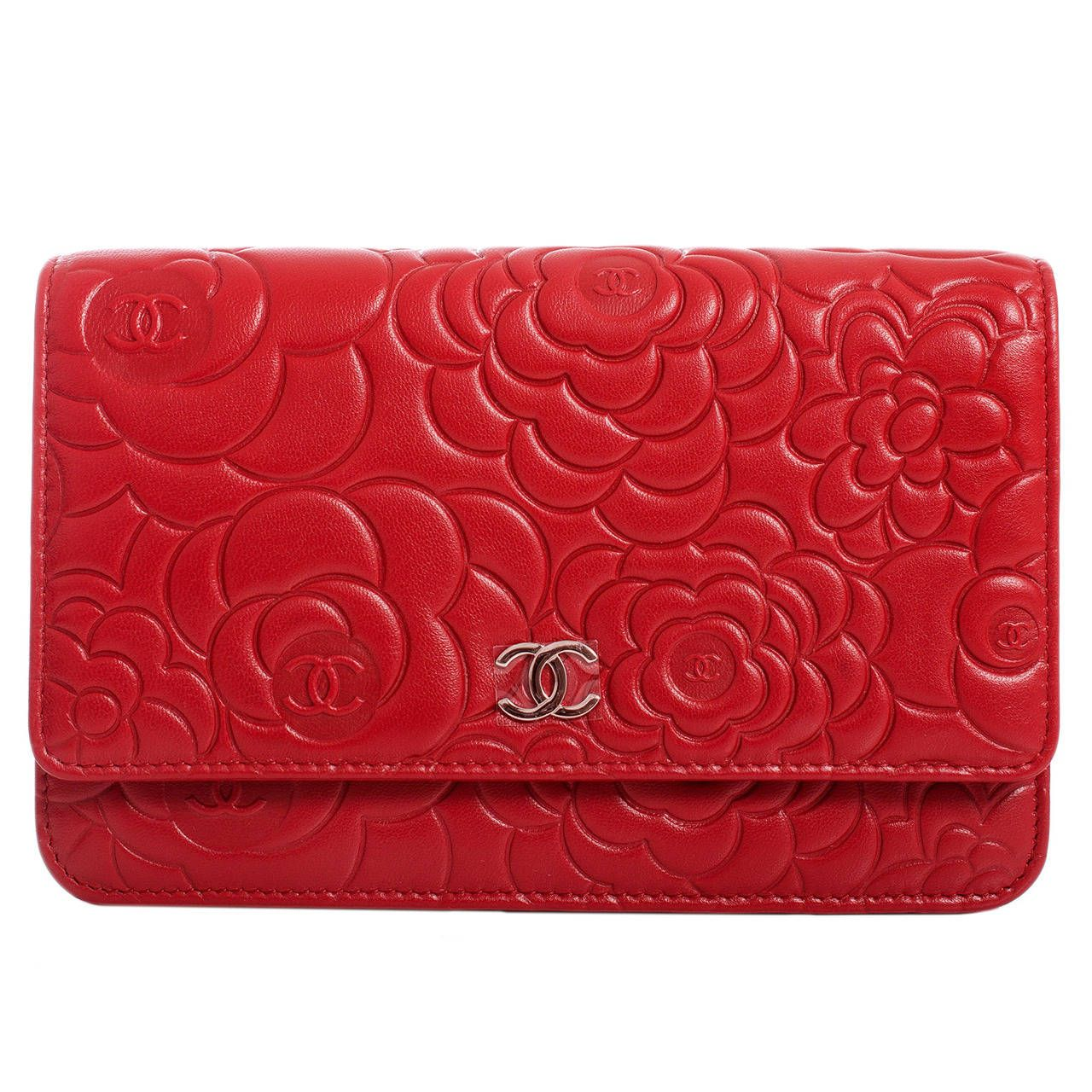 a7db419dcdec0f Chanel Red Lambskin Camellia Wallet On Chain (WOC) | From a collection of  rare