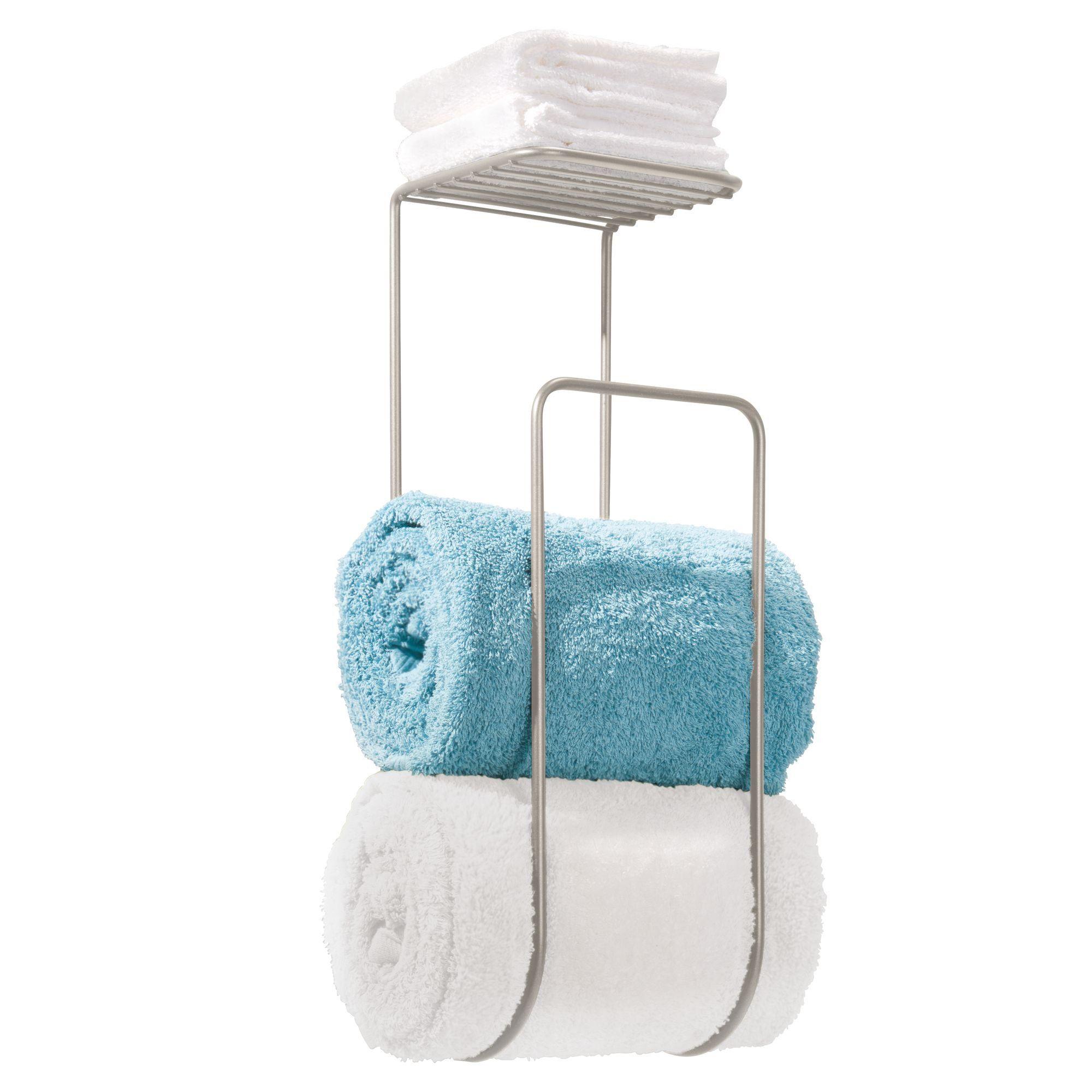 mDesign Towel Holder with Shelf for Bathroom - Wall Mount, Satin ...