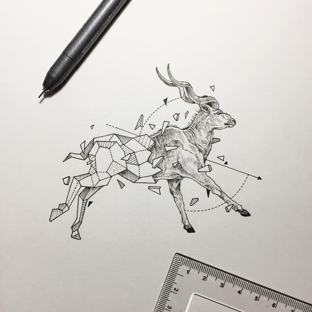 Geometric Beasts Antelope Greater Kudu Kerby Rosanes