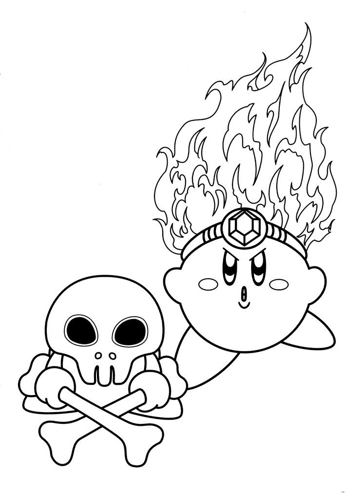 Fire Kirby Coloring Pages