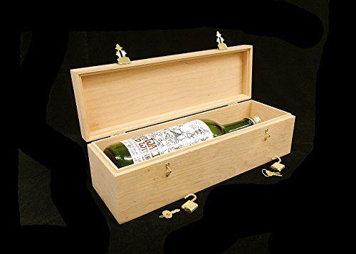 Decorative Box Hinges Unfinished Wooden Wine Box W Hinges 2 Locks Holds 1 Bottle Of