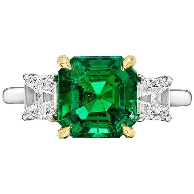 Betteridge 2.42 Carat GIA Cert Colombian Emerald Diamond Gold Platinum Ring 1