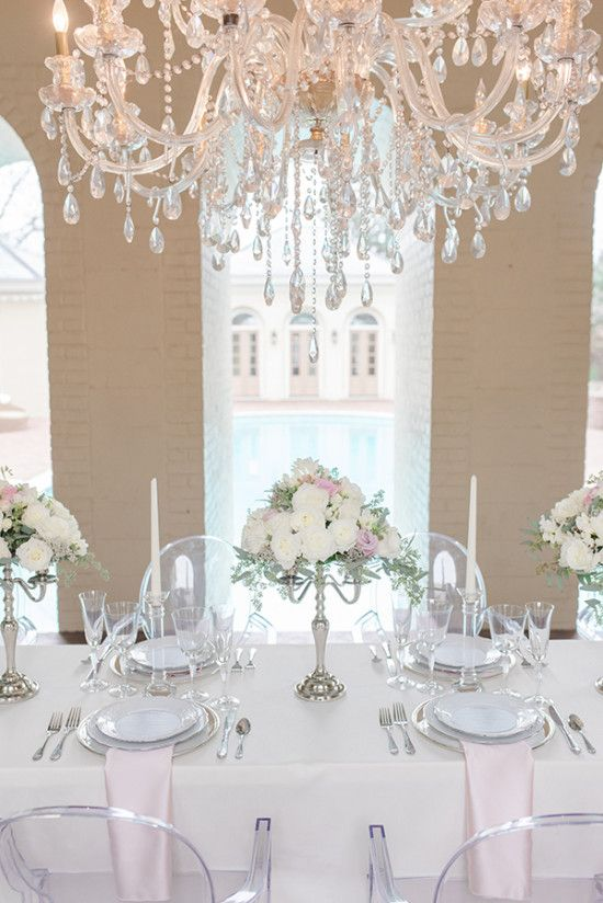 Silver Pink And Crystal Classic Wedding White Wedding