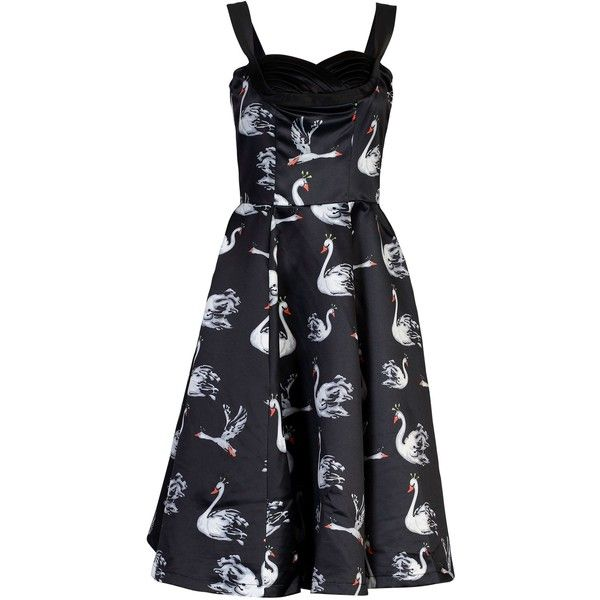 Jolie Moi Swan print satin dress ($39) ❤ liked on Polyvore featuring dresses, black, clearance, black sleeveless cocktail dress, black cocktail dresses, retro black dress, retro dress and satin dress