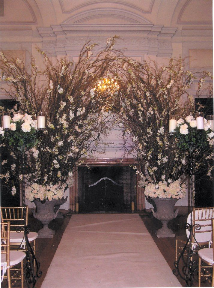 Rustic Urns And Branches With Iron Candle Stands Down The Aisle Candles