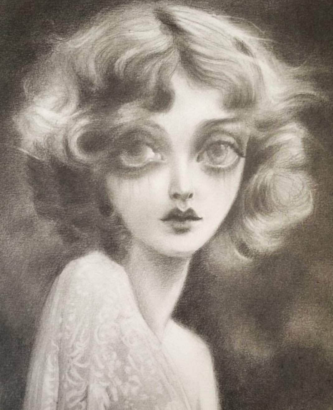 This portrait of Mary Nolan is bit of a departure from @dustinbailard's vibrantly cooked vixens, but utterly hypnotic. ❤️ * * * * #marynolan #artoftheday #artlovers #artlover #contemporaryart #shewalkssoftly #instaart #artwork #art #artsy #artists...
