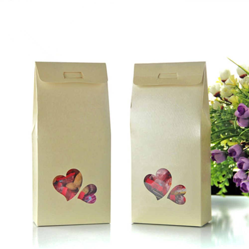 11*23+5cm Bottom Stand Up Bags W/ Heart Shape Design Clear Window ...
