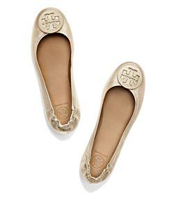 3c0cc0b1d0dde Gold Tory Burch Minnie Travel Ballet Flat, Metallic Leather | Shoes ...