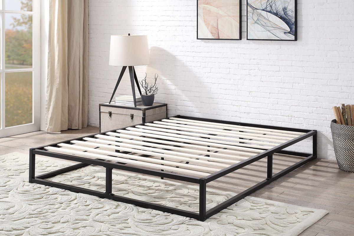 Modern Industrial Black Metal Low Platform Double Bed Frame Low