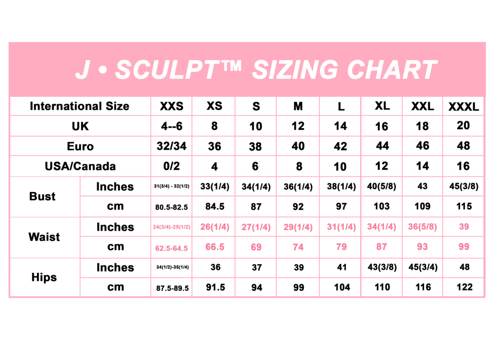d8a89eb619a J-Sculpt Sizing | Exercise | Fitness, Exercise, Sculpting