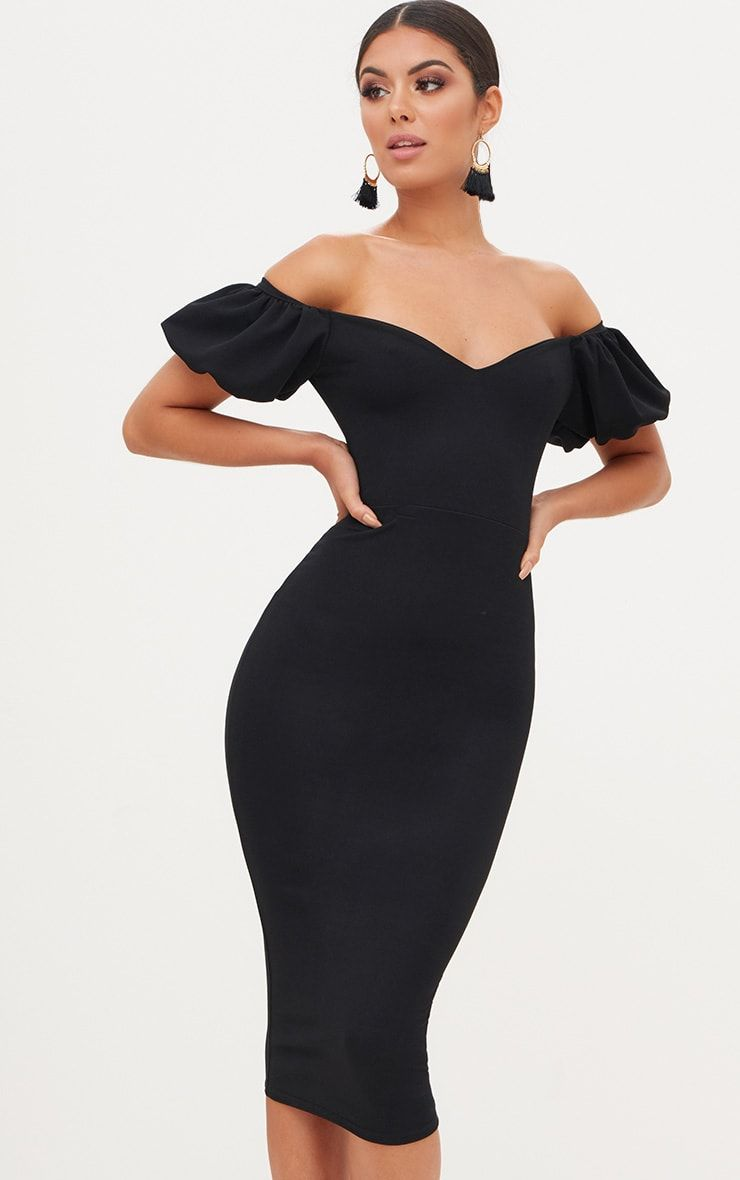 Black Balloon Sleeve Bardot Midi Dress Mid Length Dresses Designer Dresses Classy Dress [ 1180 x 740 Pixel ]
