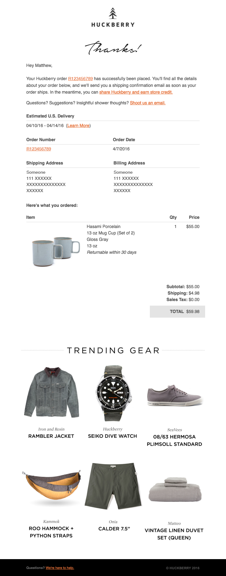Your Huckberry Order R123456789 Details Inside Email Template Design Email Layout Ecommerce Email Templates