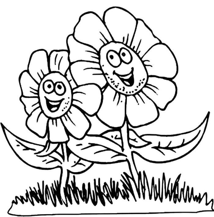Coloring Cartoon Spring Face Cartoon Flowers Coloring Pages